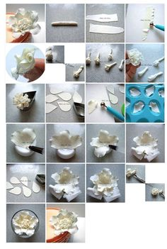 Pin by Sheri Johnson on Gum Paste Designs in 2019 Sugar Paste Flowers, Icing Flowers, Fondant Flowers, Fondant Rose, Fondant Cakes, Cupcake Cakes, Cake Decorating Techniques, Cake Decorating Tutorials, Fondant Flower Tutorial