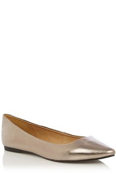 On point this season  the metallic flat point shoes are the perfect shoe to shimmy and shine in. These flats are in a classic pointed pump shape and featured the loveliest metallic upper.