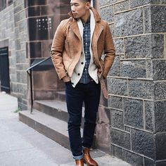 winter layers // menswear, mens fashion, style, leather coat, denim, chelsea boots, sweater, plaid, street style, winter, #sponsored