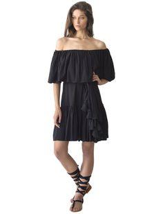 b62bb8a75a Off the Shoulder Ruffle neckline in cascading ruffle short tier hem in rayon  cotton fabric. erika peña