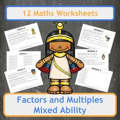 12 worksheets covering Factors (6 worksheet) and Multiples (6 worksheets) for a range of abilities including 5 worksheets filled with Ancient Egyptian themed word problems. Worksheets range from finding factors of 2 to 4 digit numbers and finding numerous multiples of numbers up to 20.