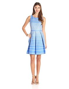 Taylor Dresses Women's Cotton Jacquard with Stripe, Peri/Tan, 6- #fashion #Apparel find more at lowpricebooks.co - #fashion