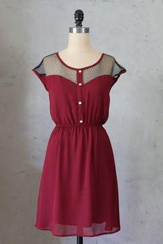 PETIT DEJEUNER in PORT - Vintage Inspired dark red chiffon dress // day // burgundy // party // bridesmaid dress // valentines