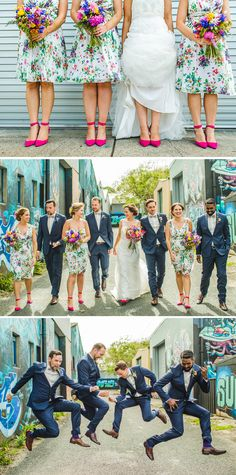 Bright floral bridesmaid dresses and navy groomsmen suits | Curly Tree Photography