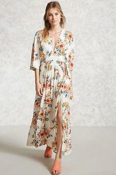 Forever 21 Contemporary - A crinkle woven maxi dress featuring an allover floral print, removable belt, V-neckline, 3/4 dolman sleeves, M-slit, and a button keyhole back.