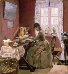 Laurits Andersen Ring (1854-1933): Johanne Wilde, friend of the artist, at her loom, 1889
