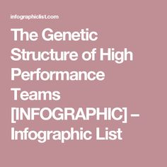 The Genetic Structure of High Performance Teams [INFOGRAPHIC] – Infographic List
