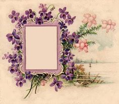 This flowered vintage photo frame would be lovely for a women's portrait page ~ free printable.