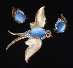1960's TRIFARI Fantasies Bird Brooch & Earrings- Blue Moonstone Cab- Rhinestones in Jewelry & Watches, Vintage & Antique Jewelry, Costume, Designer, Signed, Sets | eBay