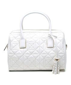 This White Quilted Leather Satchel by Versace Jeans Collection is perfect! #zulilyfinds