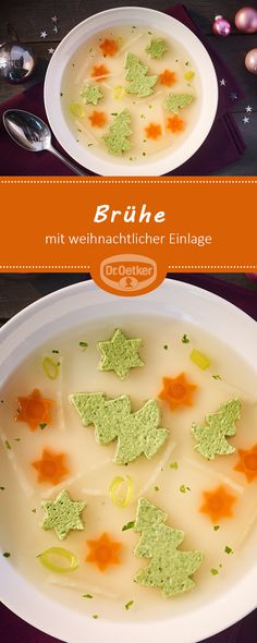 Broth with Christmassy Inlay: A traditional soup with green eggplant - Weihnachten Green Eggplant, Egg Shells, Cheeseburger Chowder, Food And Drink, Soup, Eggs, Traditional, Fruit, Dinner