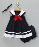 Navy Nautical Dress Set - Infant, Toddler & Girls by Good Lad on zulilyNavy Nautical Dress Set - Adorable a salute to daddy!Just like an outfit I had when I was a baby. Navy Nautical Dress Set from Good Lad oncute [from Good Lad on SO cute! Little Girl Outfits, Little Girl Fashion, Little Girl Dresses, Fashion Kids, Kids Outfits, Girls Dresses, Baby Dresses, Peasant Dresses, Toddler Fashion