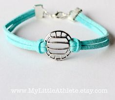 Volleyball Bracelet - Light Blue Faux Sued Charm by MyLittleAthlete