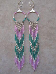 Seed Bead Chain Hoop Earrrings  Teal by pattimacs on Etsy, $26.00