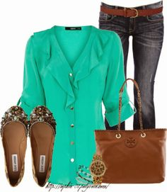Casual Outfits | Simply Stylish  Long Sleeve blouse, CARLOS MIELE jeans, TORY BURCH bag, Guess watch, Steve Madden flat shoes  by sophie-01