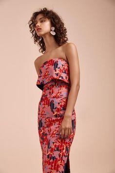 ENTICE MIDI DRESS blush striped floral