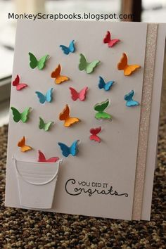 Impression Obsession PAIL thin metal die, bucket, Made in USA Handmade Birthday Cards, Greeting Cards Handmade, Impression Obsession Cards, Tarjetas Diy, Birthday Card Drawing, Butterfly Cards, Butterfly Wings, Diy Crafts For Gifts, Congratulations Card