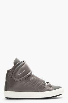 PIERRE HARDY Grey Padded Velcro High-Top Sneakers