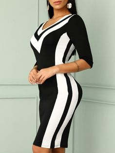 Sexy Women Deep V-Neck Contrast Color Striped Tape Bodycon Dress Modest Dresses, Elegant Dresses, Mode Glamour, Chic Type, Black Bodycon Dress, Curvy Women Fashion, Color Stripes, 98, Beautiful Gowns