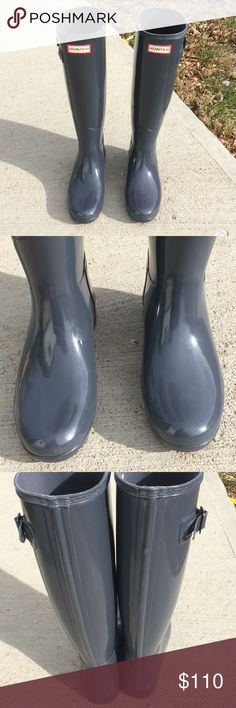 "Hunter original refined gloss graphite grey sz5 Like new Graphite Grey Hunter original refined gloss size eu: 36 us:5 uk:3 Minor scratches ""see pictures"" Hunter Boots Shoes Winter & Rain Boots"