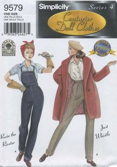 "Retro Vintage Doll Clothes Sewing Pattern | Simplicity 9579 | Year 2001 | Series 4 Couturier Doll Clothes for 15½"" Fashion Doll (such as Gene) 