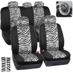 BDK Zebra Print Car Seat Covers Two Tone Accent On Black 9pc Full Set