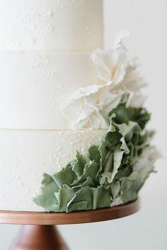 minimal succulent inspired wedding cake