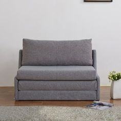 Leveson Denim Fabric Chairbed In Pebble Grey Next Day
