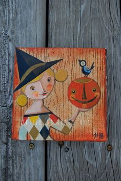 Witchy Woman original Halloween painting 6x6 inch by Melissa Belanger (Blonde witch) on Etsy, $78.00
