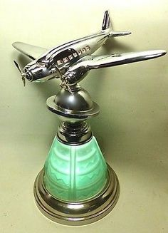 Art-Deco-Limited-Edition-Worlds-Fair-Saturn-Globe-DC-3-Airplane-Lamp