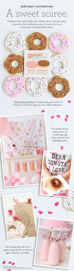 Your child& next birthday party must have this sweet soiree by Happy Wi . Donut Party, Donut Birthday Parties, Birthday Brunch, Birthday Fun, Birthday Party Themes, Birthday Ideas, Party Invitations Kids, Golden Birthday, Donuts