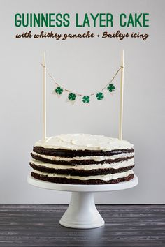 Guiness layer cake with whiskey ganache and Bailey's icing. Happy St. Patrick's Day. You're welcome.