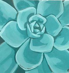 Plant Painting, Plant Art, Diy Painting, Succulents Painting, Blue Painting, Acrylic Painting Inspiration, Acrylic Painting Canvas, Canvas Art, Succulent Wall Art