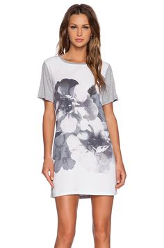 0df15662a048 The Fifth Label Across the River T-Shirt Dress in White Floral   Light Grey
