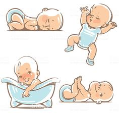 Cute Babies In Blue Clothes. Stock Vector - Illustration of cartoon, funny: 61218341 Cute Baby Boy, New Baby Boys, Cute Little Baby, Cute Babies, Baby Girls, Baby Cartoon Drawing, Boy Drawing, Cartoon Drawings, Cute Baby Drawings