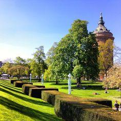 Mannheim, Wasserturm - German Summer Golf Courses, Sidewalk, Germany, Summer, Mannheim, Water Tower, Heidelberg, Beautiful Places, Summer Time