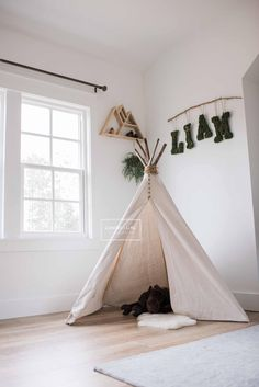 Camping Theme Room Teepees 41 New Ideas Baby Teepee, Teepee Nursery, Teepee Kids, Nursery Room, Girl Nursery, Teepee Tent, Girls Teepee, Teepees, Bedroom Themes