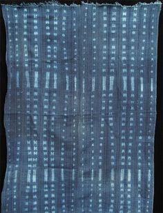 Africa | Strip-weave cotton fabric stitch resist-dyed with natural indigo dye | Dogon people, Mali