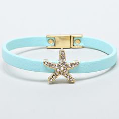 Crystal Starfish Bracelet in Soft Turquoise