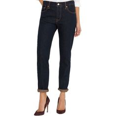 Levi's 501 Ct Customized Tapered Boyfriend Jeans (610 ZAR) ❤ liked on Polyvore featuring jeans, rapid rinse, boyfriend fit jeans, boyfriend crop jeans, cropped jeans, rolled jeans and levi boyfriend jeans