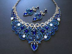 Excited to share this item from my shop: Victorian blue necklace, wedding bridal necklace, rhinestones crystals necklace, wedding jewelry, wedding set, brides necklace, prom #wedding #blue #artdeco #diamondnecklace #victoriannecklace #vintagevictorian Crystal Necklace, Crystal Rhinestone, Wedding Sets, Wedding Blue, Bride Necklace, Wedding Jewelry, Rhinestones, Victorian, Stud Earrings