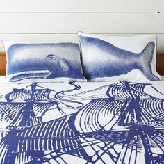 blue whale graphic bed and pillow sheet Whale Pillow, Pillow Shams, Pillows, Whale Print, Affordable Modern Furniture, Blue Whale, Cozy Cottage, Duvet Covers, Blue And White