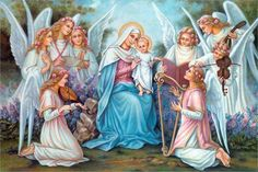 Mary and Child Jesus with Angels in attendance Blessed Mother Mary, Blessed Virgin Mary, Religious Photos, Religious Art, Rosary Mysteries, St Therese Of Lisieux, Mama Mary, Queen Of Heaven, Holy Mary
