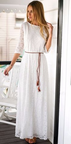 Lace white elbow length sleeve maxi dress, modest wedding dress, modest white dress all white lace dress