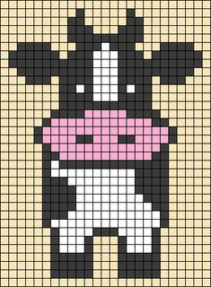 Alpha friendship bracelet pattern added by Mariethunn. Cross Stitch Cow, Beaded Cross Stitch, Cross Stitch Animals, Crochet Stitches Patterns, Beading Patterns, Cross Stitch Designs, Cross Stitch Patterns, Crochet Sloth, Graph Paper Art