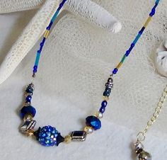 Blue Crystal Bling Necklace Gold Tone Bronze Luster Sparkling Czech Glass Beads OOAK 18 Inches Long