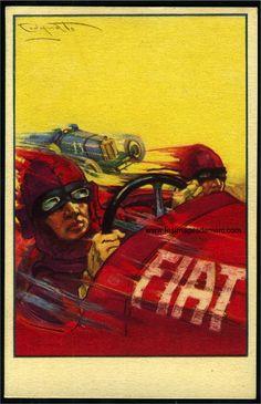 Plinio Codognato (1878-1940), illustrateur italien, travaille à partir de 1923 avec le constructeur automobile FIAT. Carte postale publicitaire. www.lesimagesdemarc.com
