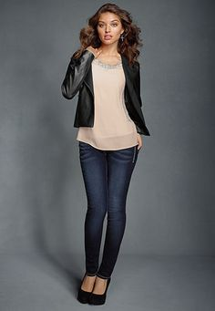 Faux leather moto blazer - maurices