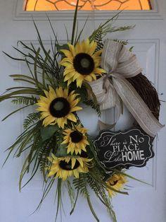 Sunflower wreath spring wreath Summer by KarensCustomWreaths
