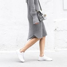 Pair sneakers with a dress for casual chic. www.stylestaples.com.au